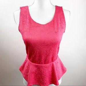Francescas Pink Peplum Top Medium